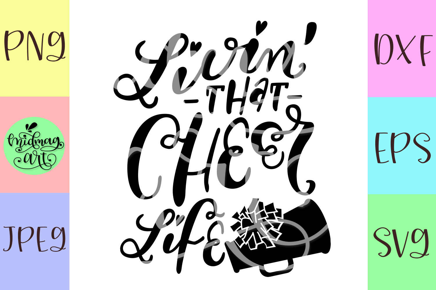 Livin that cheer life svg, cheer mom svg example image 2