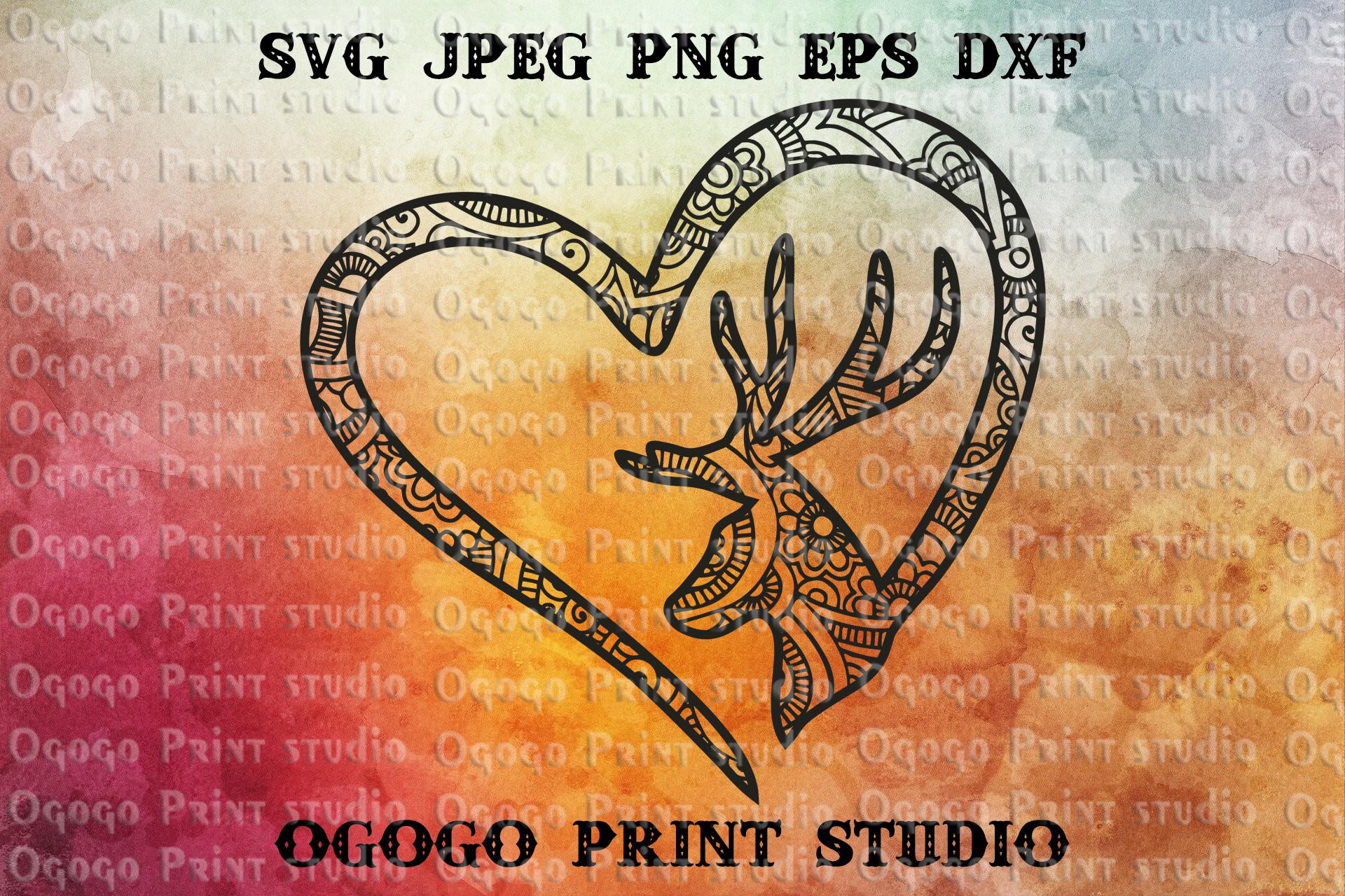Deer Love svg, Mandala svg, Christmas svg, Zentangle SVG example image 1