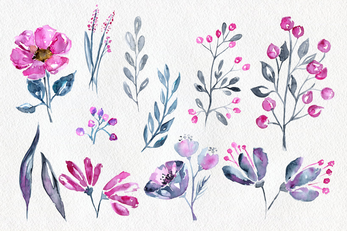 12 Watercolor floral elements example image 2
