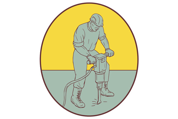 Construction Worker Operating Jackhammer Oval Drawing example image 1