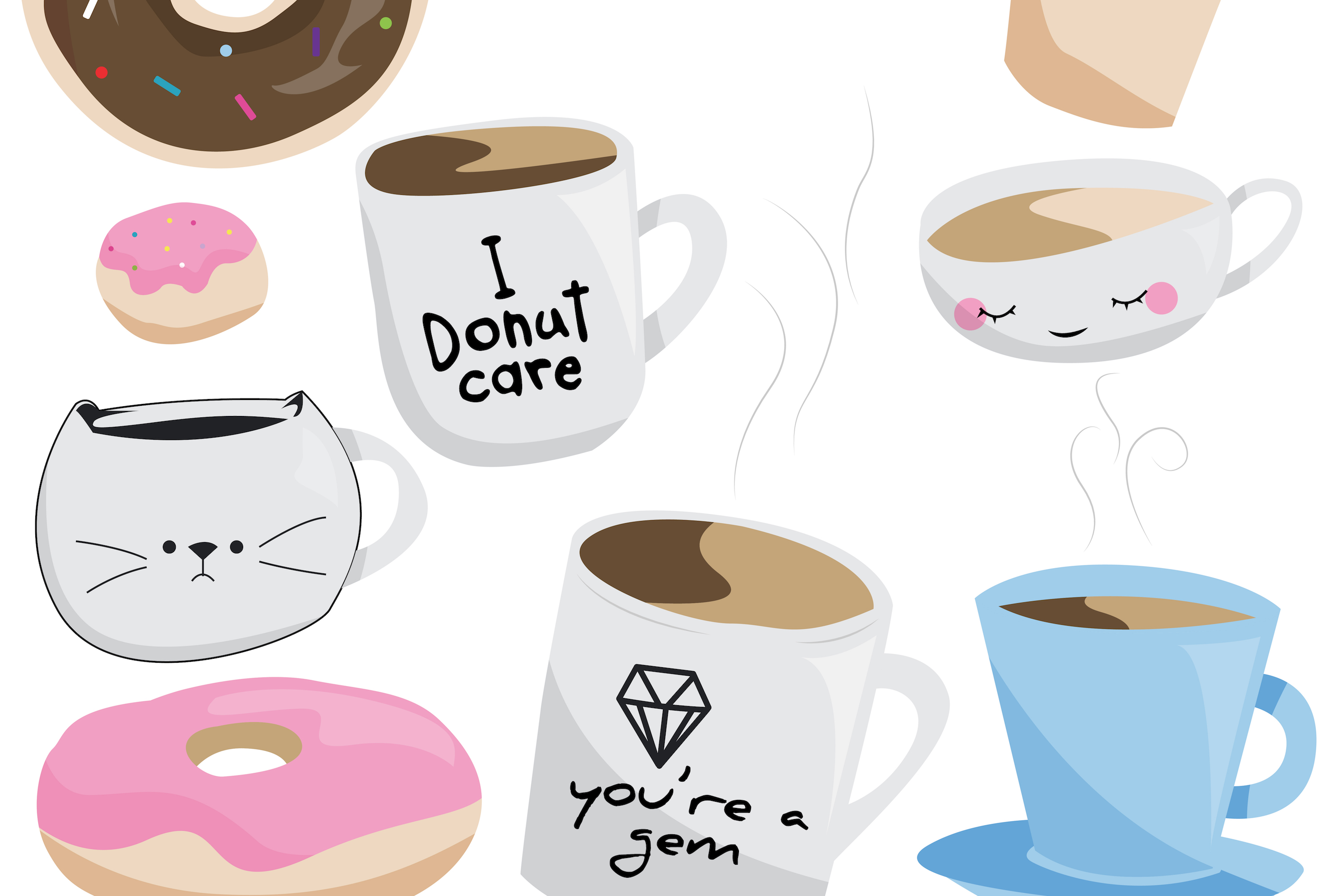 Coffee & Donut Clipart Graphics for commercial use example image 2