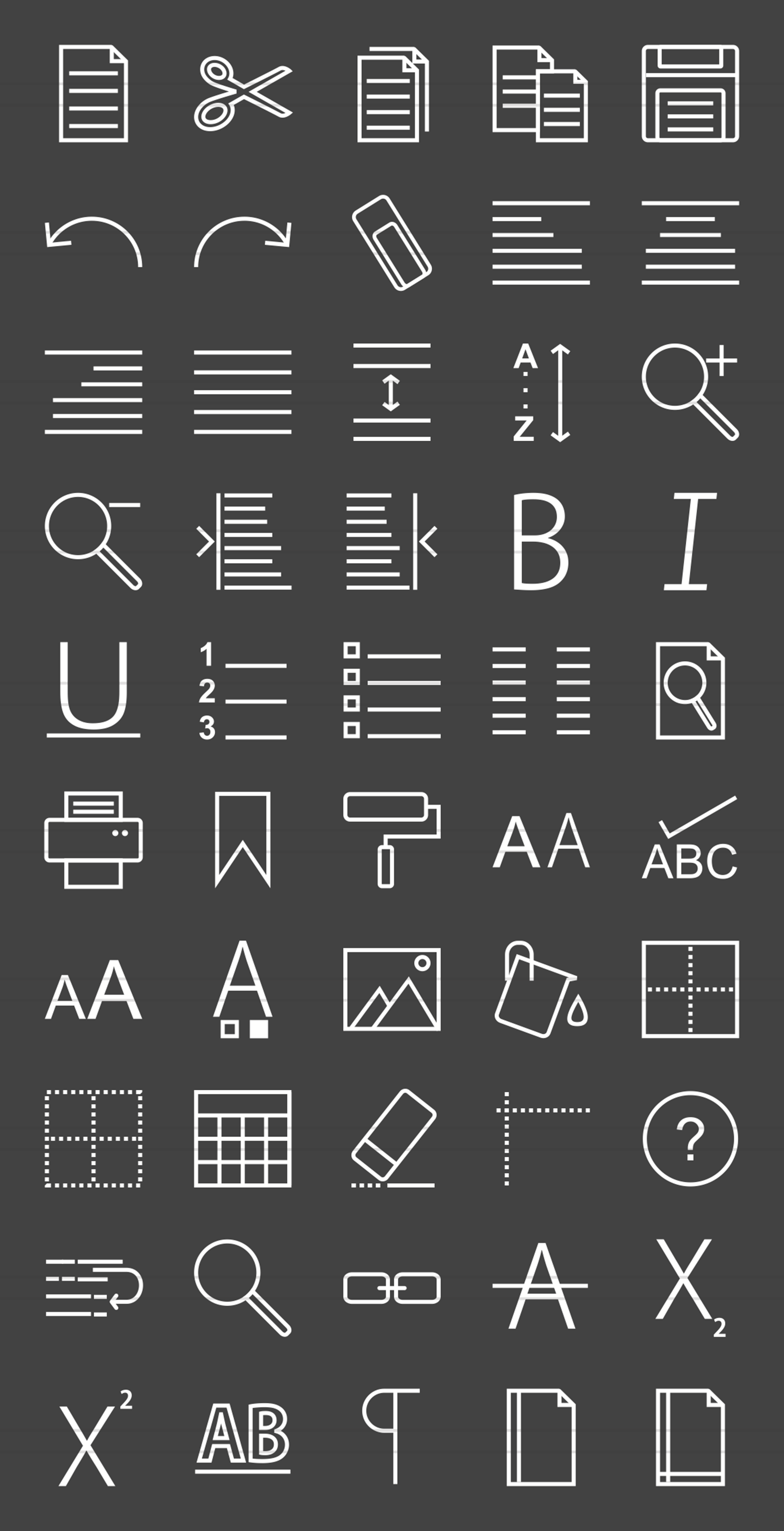 50 Text Editing Line Inverted Icons example image 2