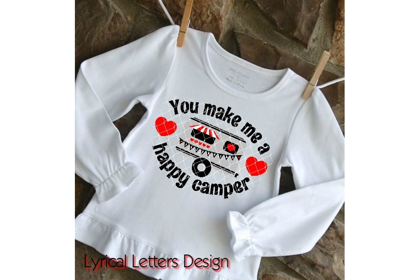 You Make Me a Happy Camper Valentine's Day SVG DXF LL175D example image 2