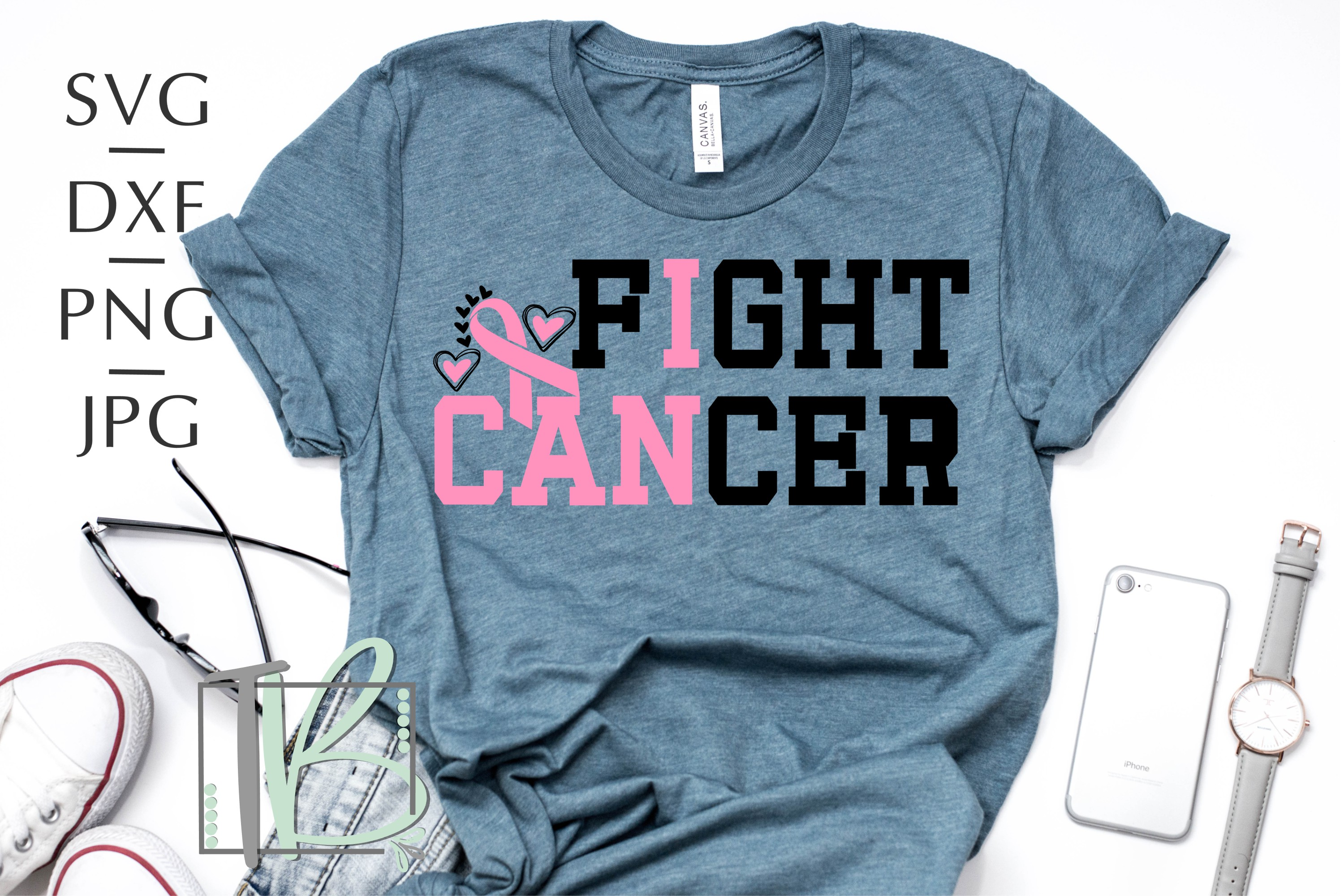 Breast Cancer SVG, I Can Fight Cancer SVG example image 1