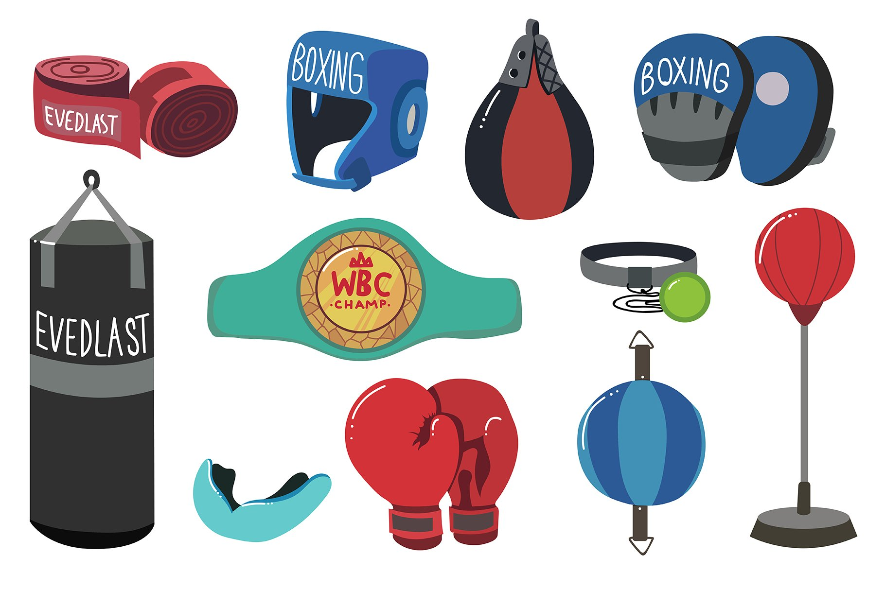 Boxing Equipment Tools Set Vector example image 1