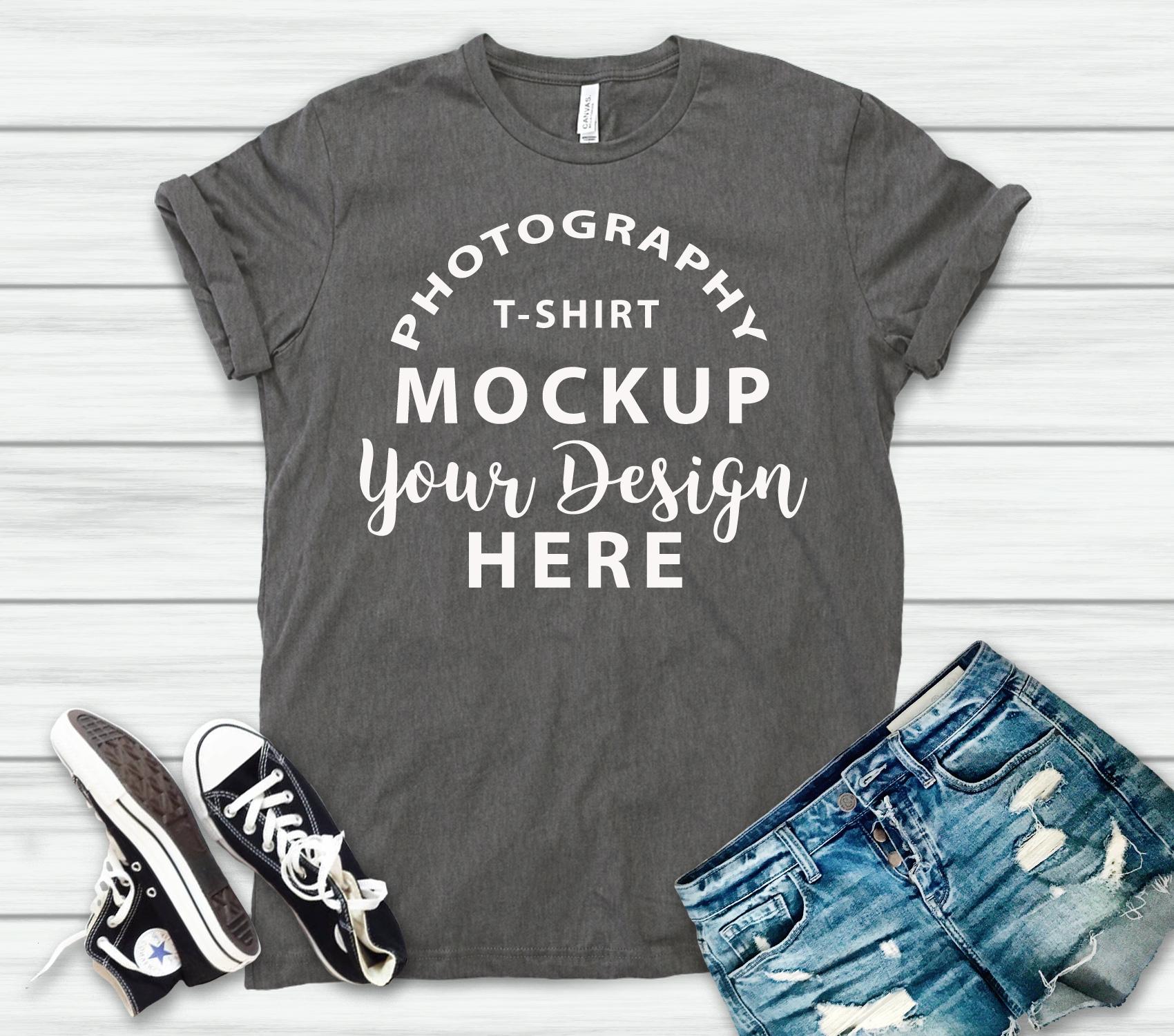 Bella Canvas 3001 T-shirt mock-up, color ASPHALT example image 2