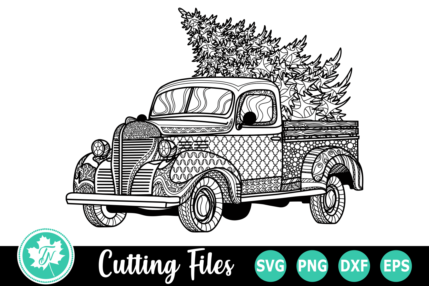 Zentangle Christmas Truck - A Christmas SVG Cut File example image 1