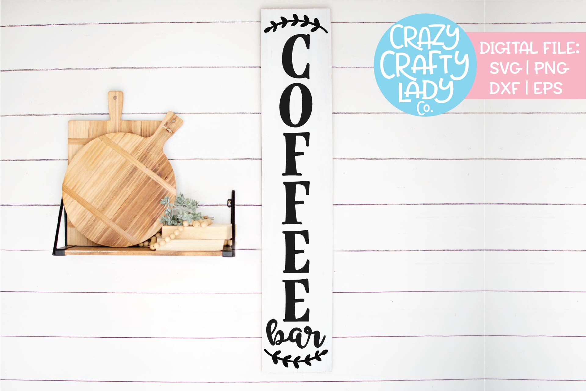 Vertical Coffee Bar Sign Kitchen SVG DXF EPS PNG Cut File example image 1