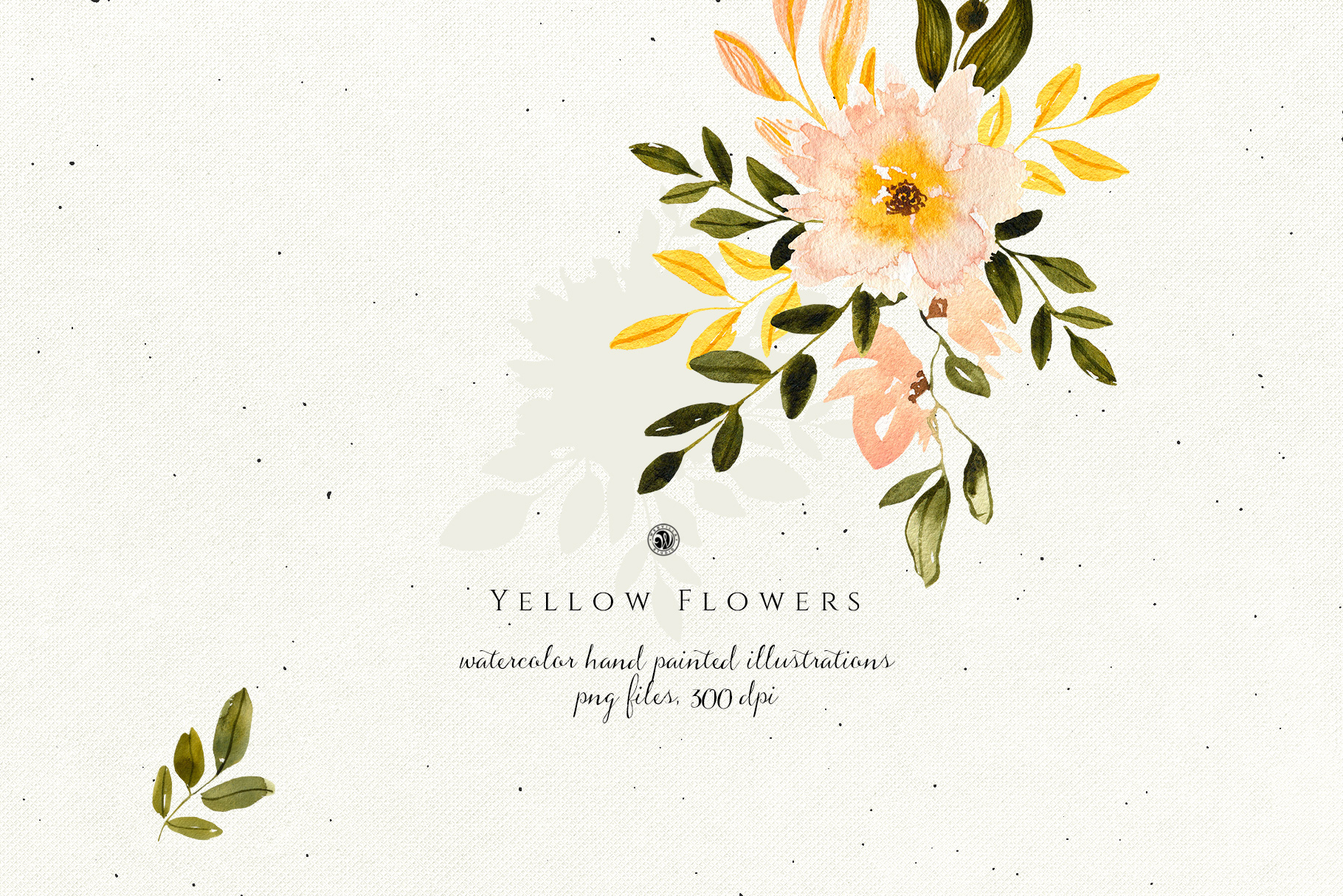 Yellow Watercolor Flowers example image 4