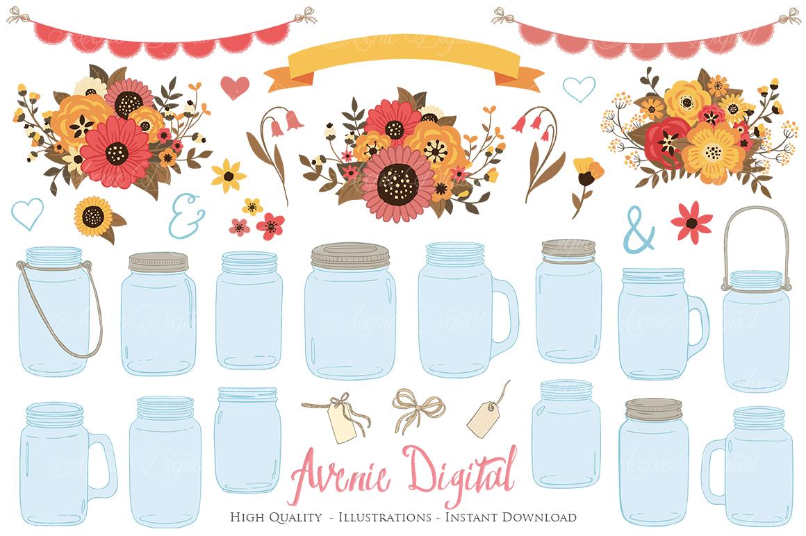 Fall Mason Jar Wedding Clipart - Autumn Wedding Graphics example image 1