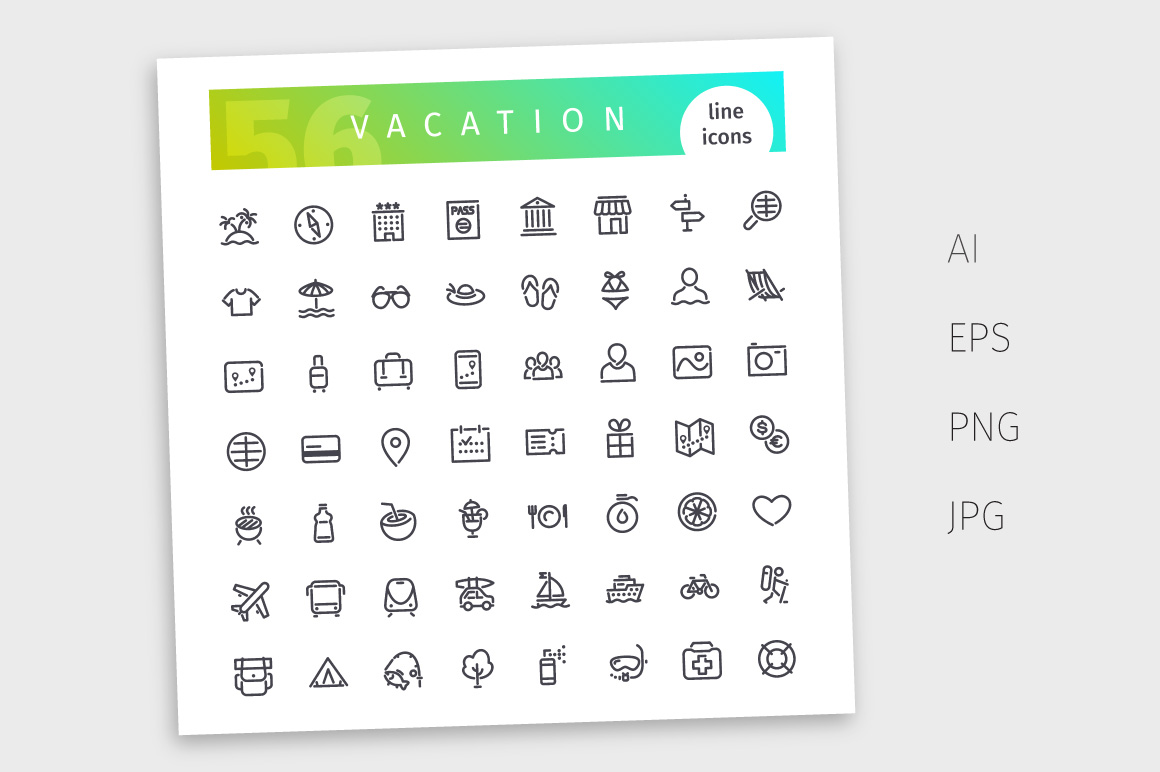 Vacation Line Icons Set example image 4