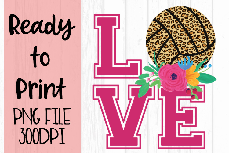 Love Leopard Volleyball Ready to Print example image 1