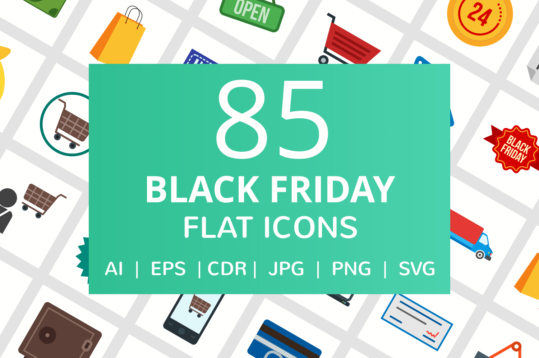 85 Black Friday Flat Icons example image 1