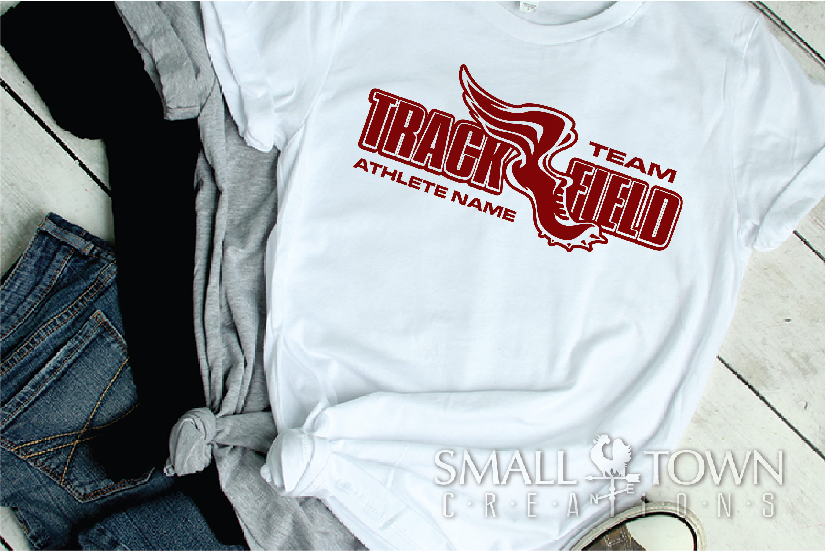 Track and Field, Team logo, Winged shoe, PRINT, CUT & DESIGN example image 2