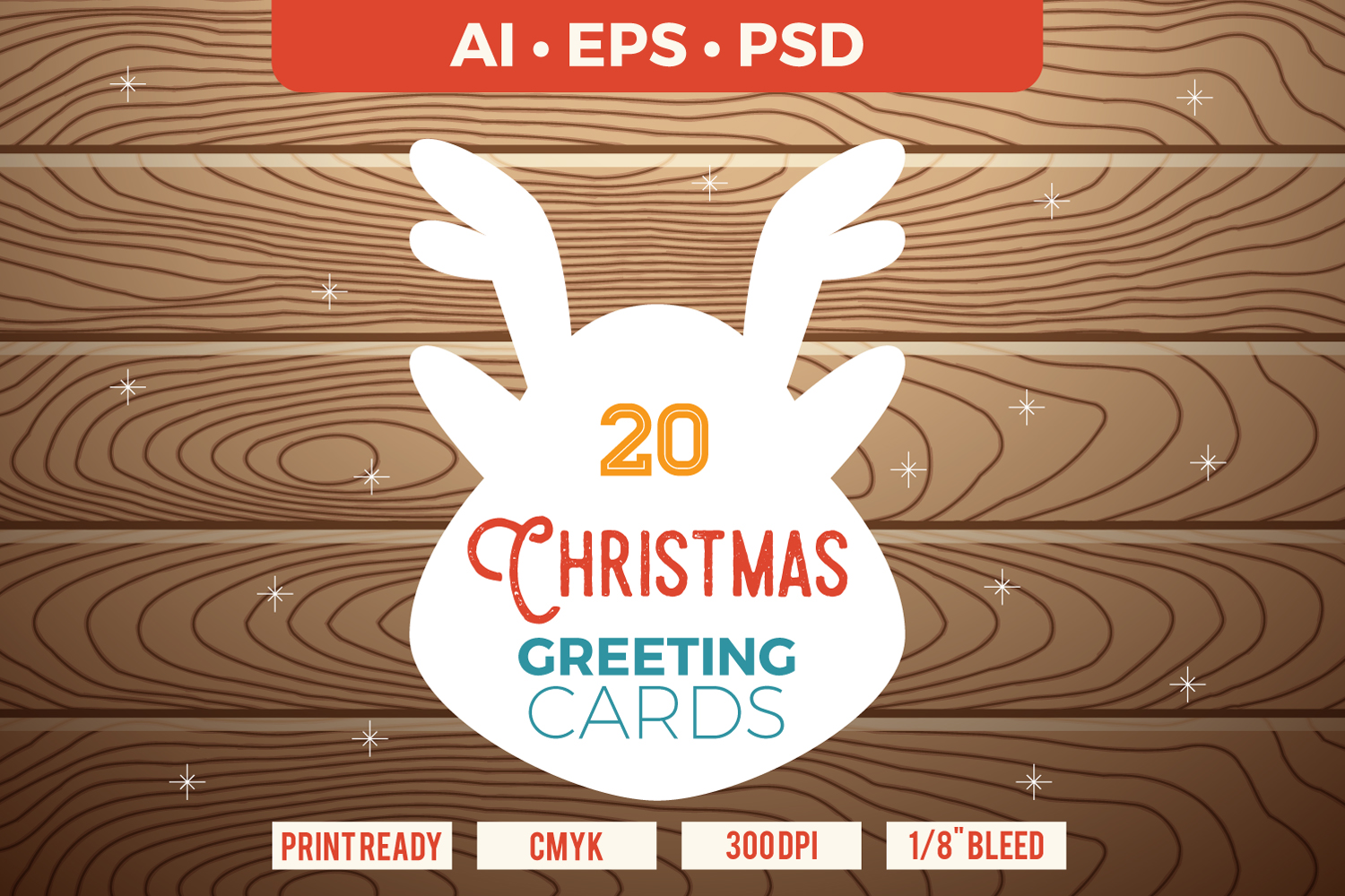 20 Christmas & New Year Cards Template AI, PS example image 1