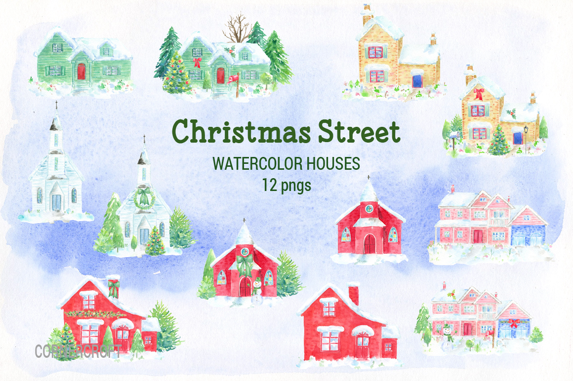 Watercolor Christmas Street  example image 5