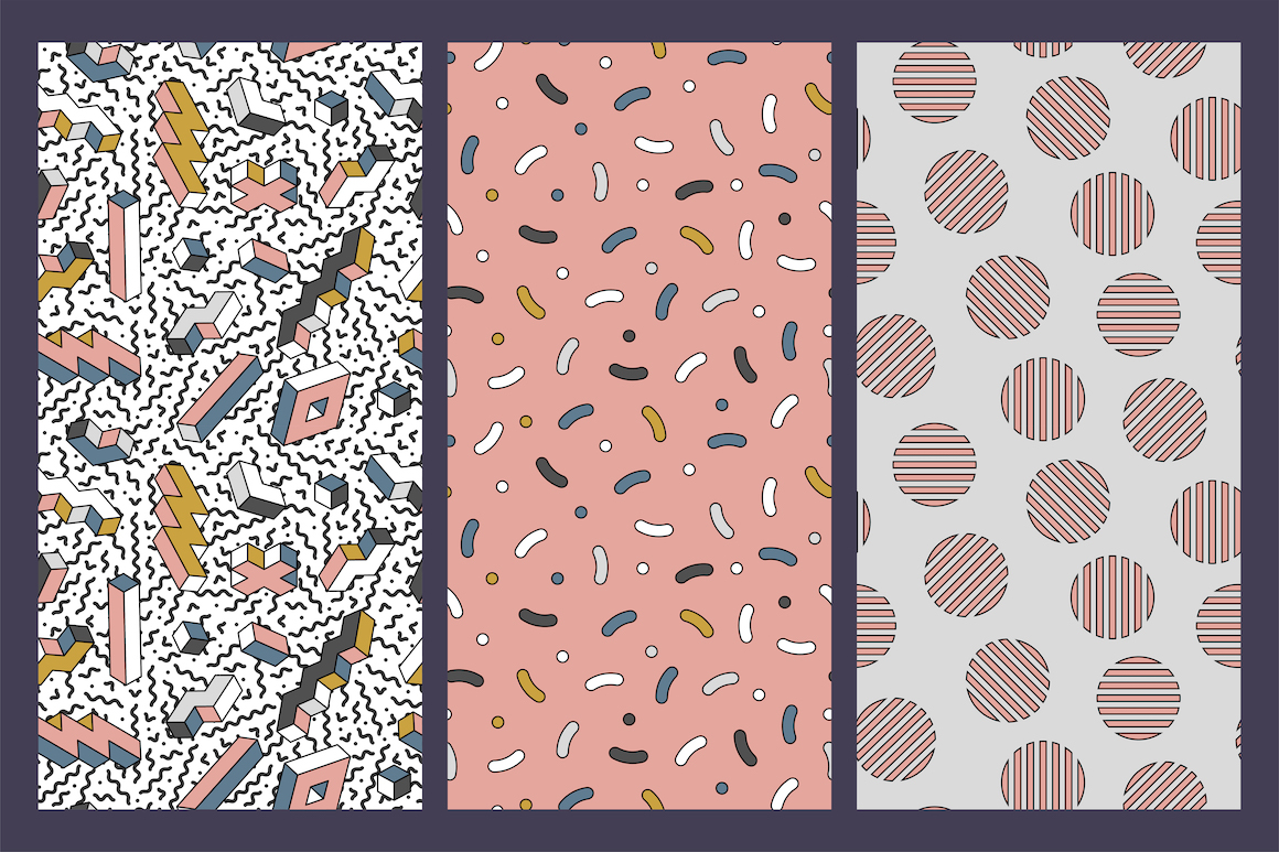 Memphis seamless trendy patterns example image 5