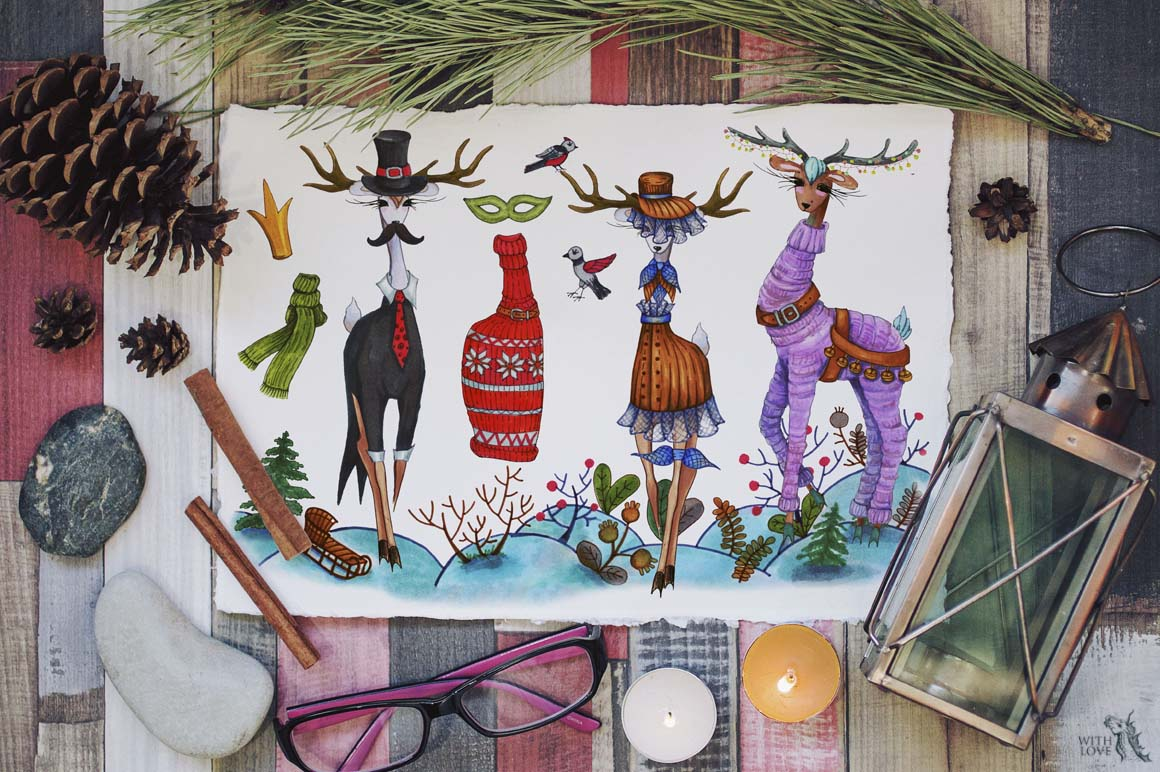 Fashion Christmas Deers Creator example image 3