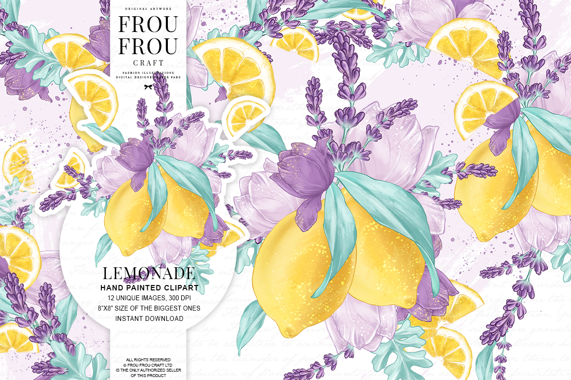 Lemons Fruits Lavender Citrus Purple Yellow Clip Art example image 1