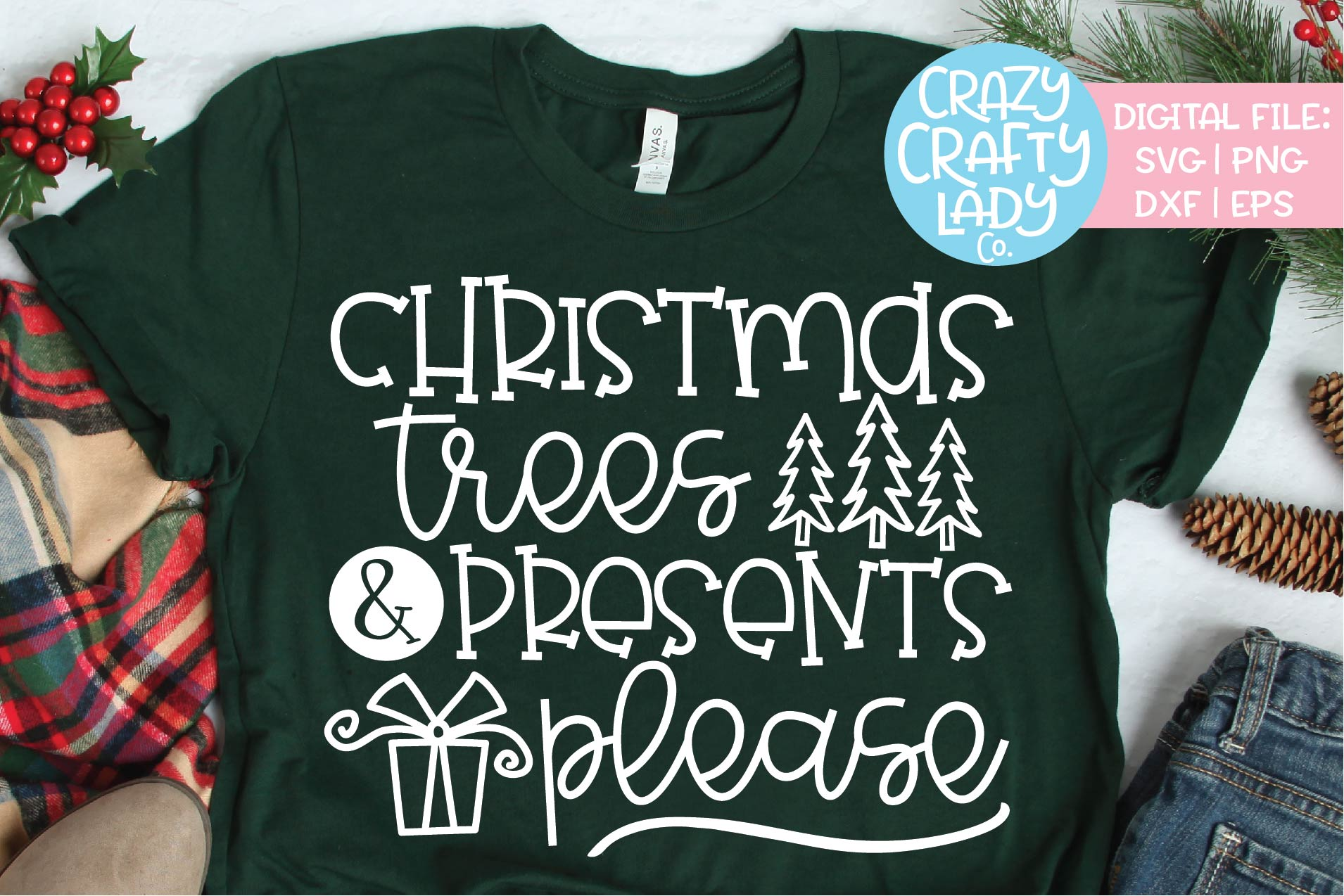 Christmas Trees & Presents Please SVG DXF EPS PNG Cut File example image 1