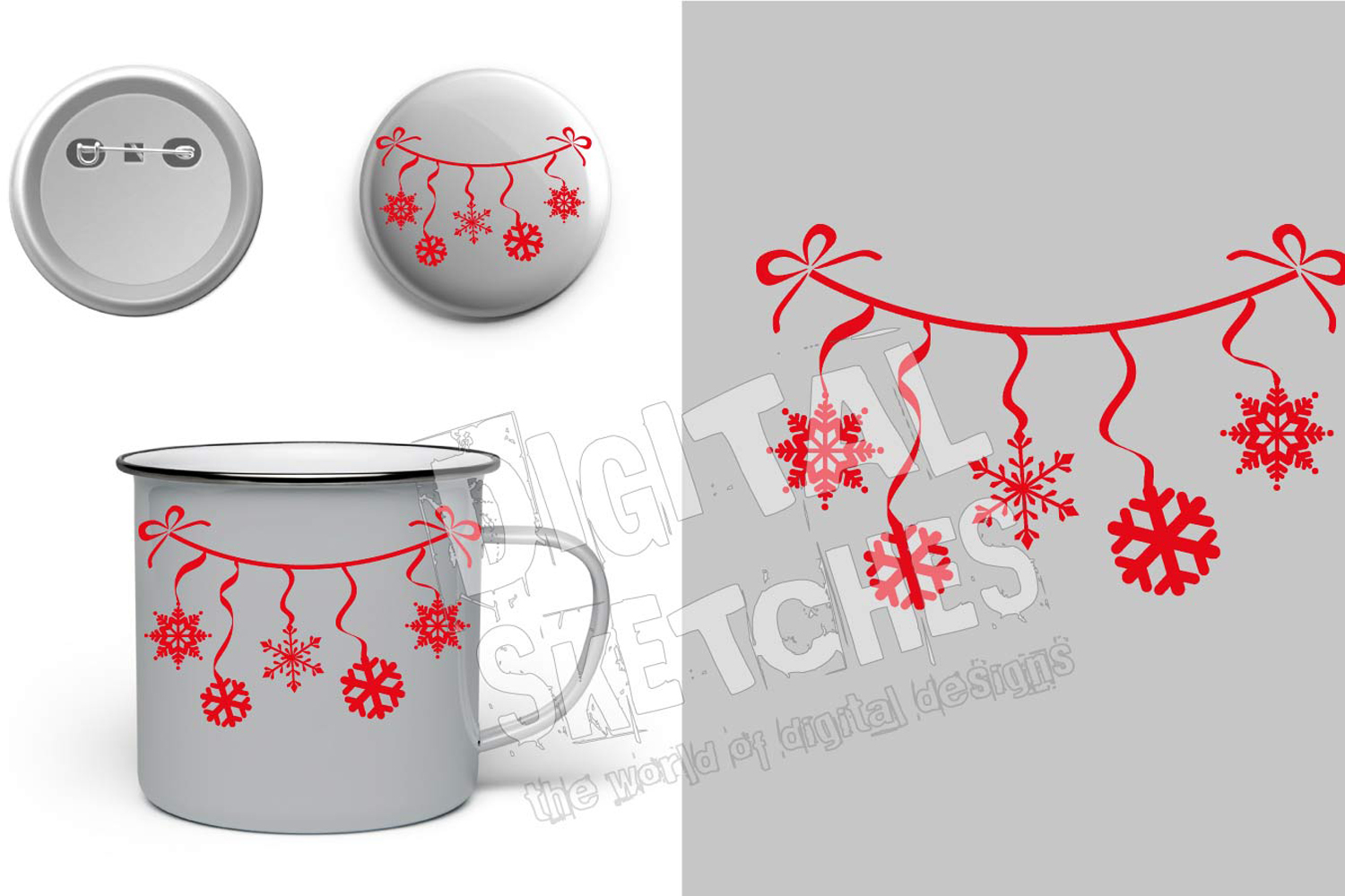Snowflakes Christmas Cut File Vector Graphics Illustration example image 3