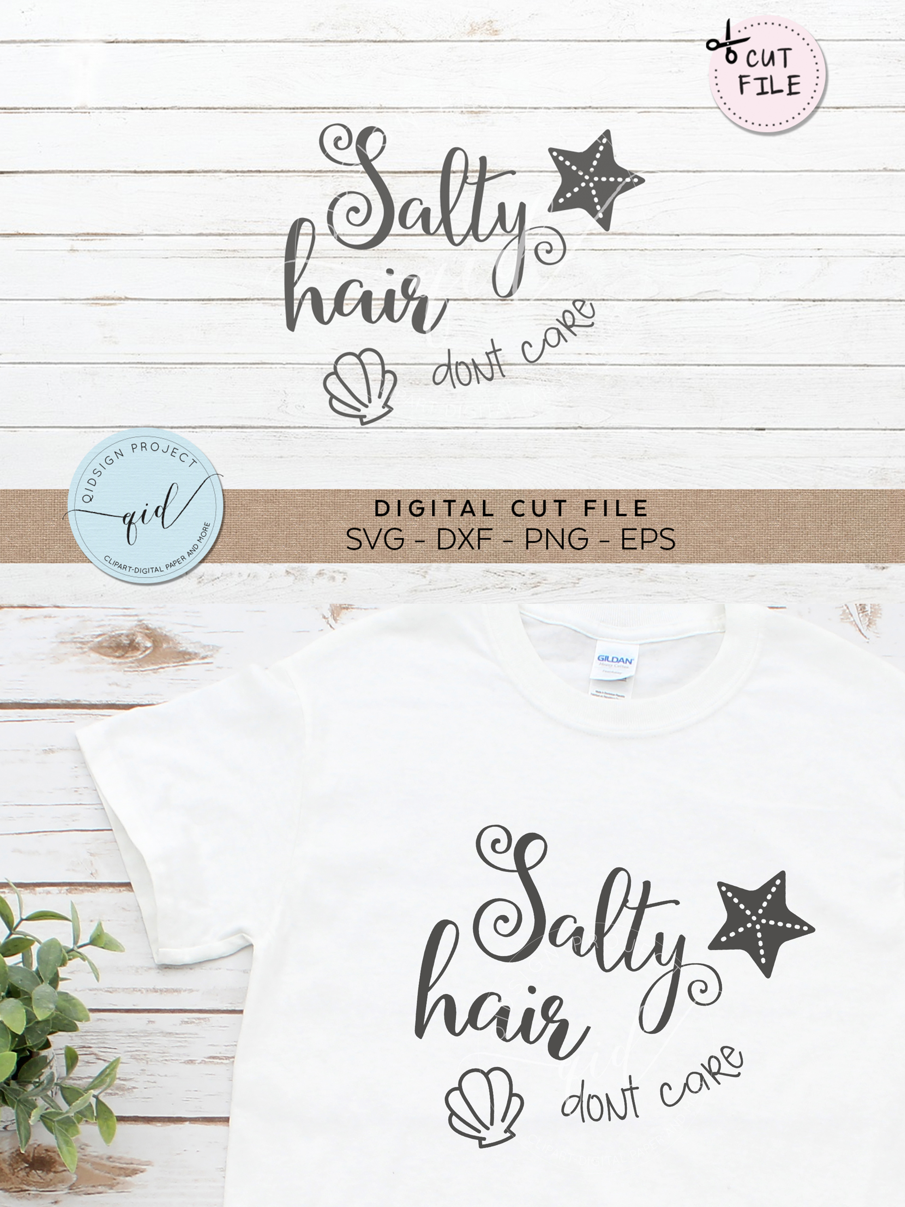 Salty Hair Dont Care SVG DXF PNG EPS example image 2