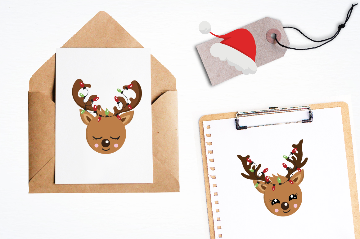 Reindeer faces graphics and illustrations example image 4