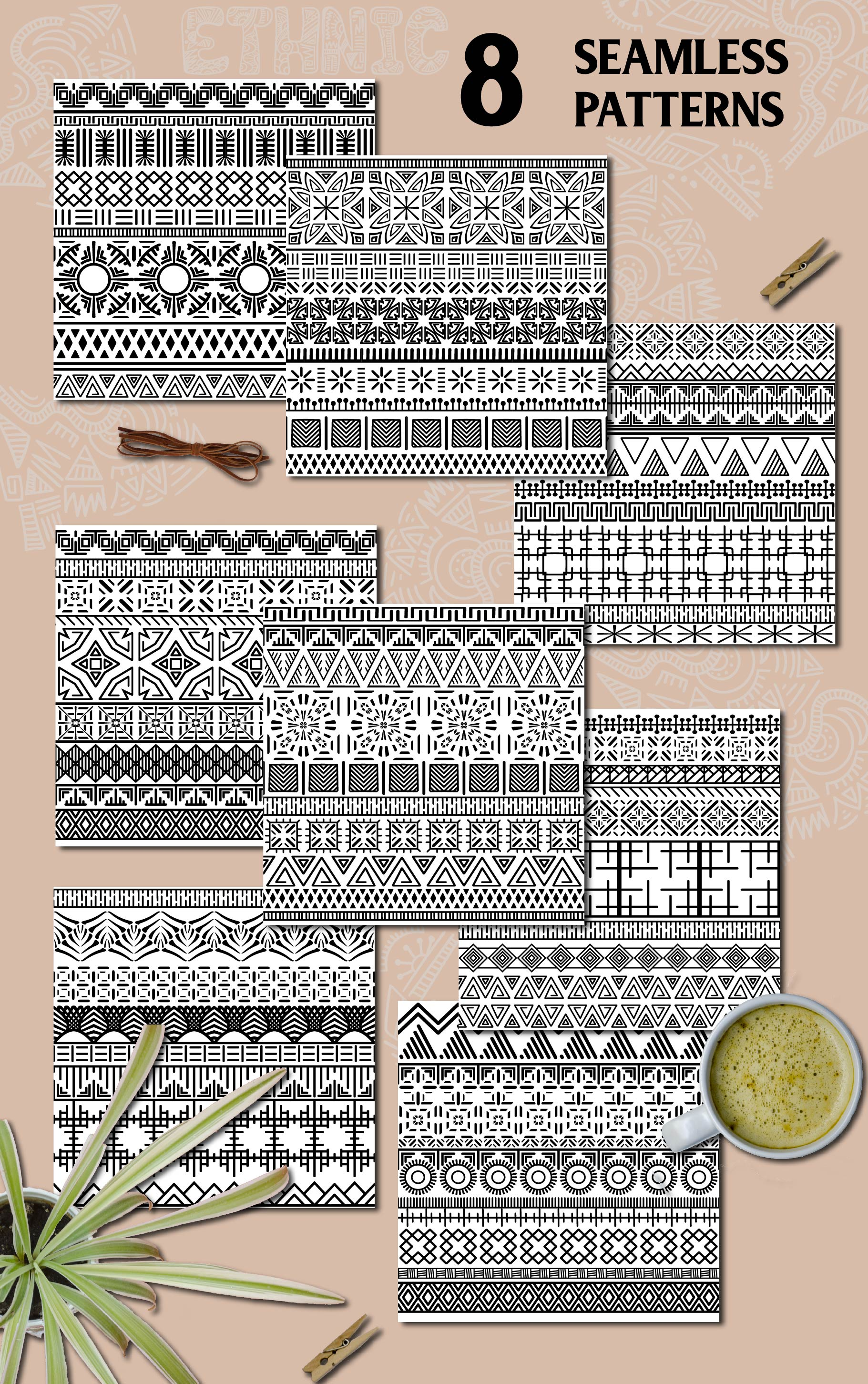 Black and White Ethnic Seamless example image 3