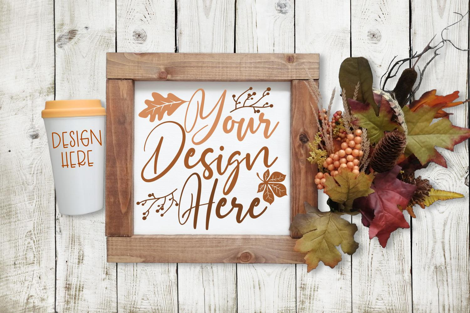 Wood Sign, Coffee Cup - DUAL MOCK-UP example image 1