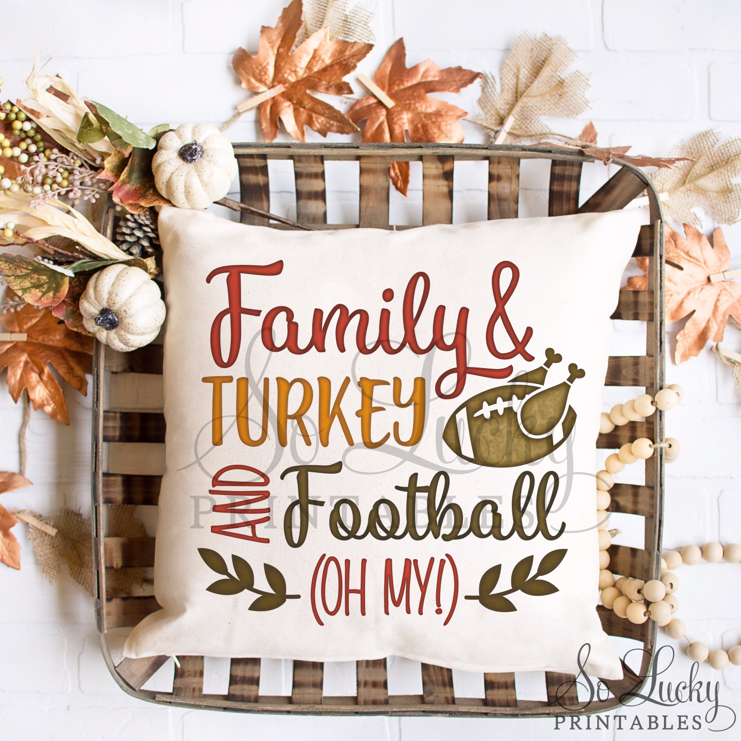 Family Turkey and Football watercolor printable sublimati example image 2