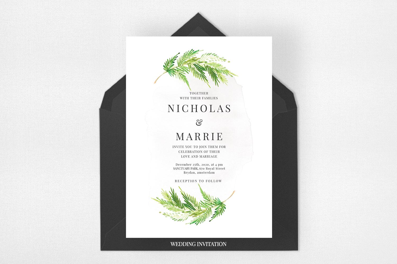 Watercolor Leaf Wedding Suite example image 2