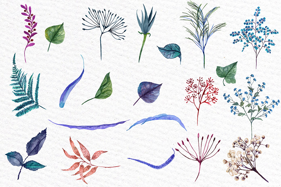 Watercolor Blue Flowers Clipart example image 3