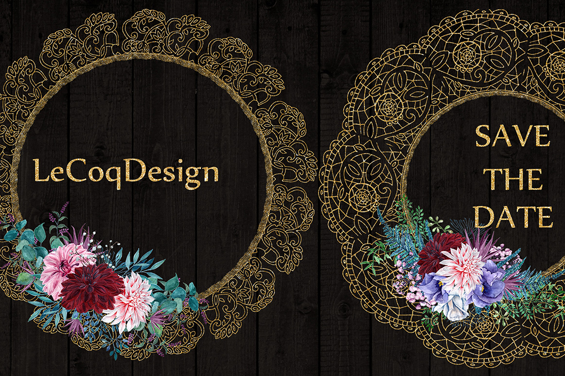 Gold Lace frames clipart example image 4