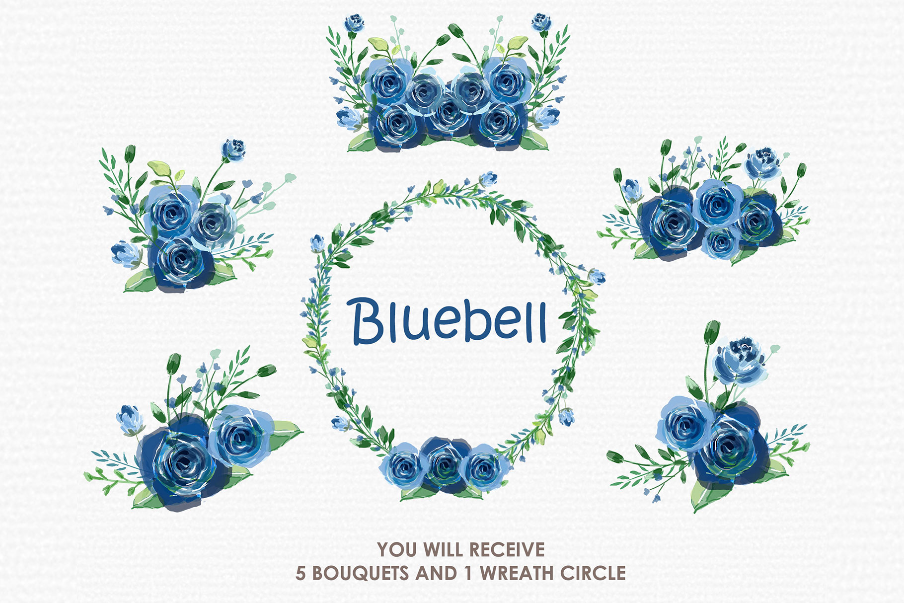 Bluebell - Digital Watercolor Floral Flower Style Clipart example image 3