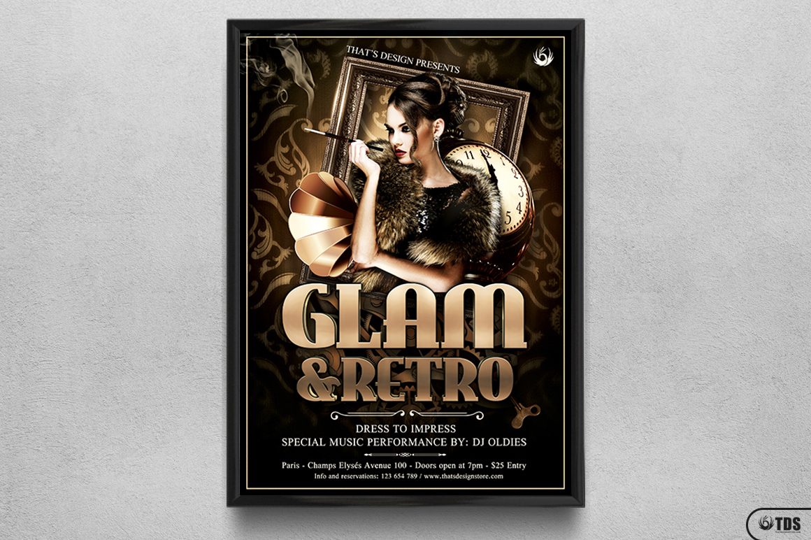 Retro Glam Flyer Template V2 example image 6