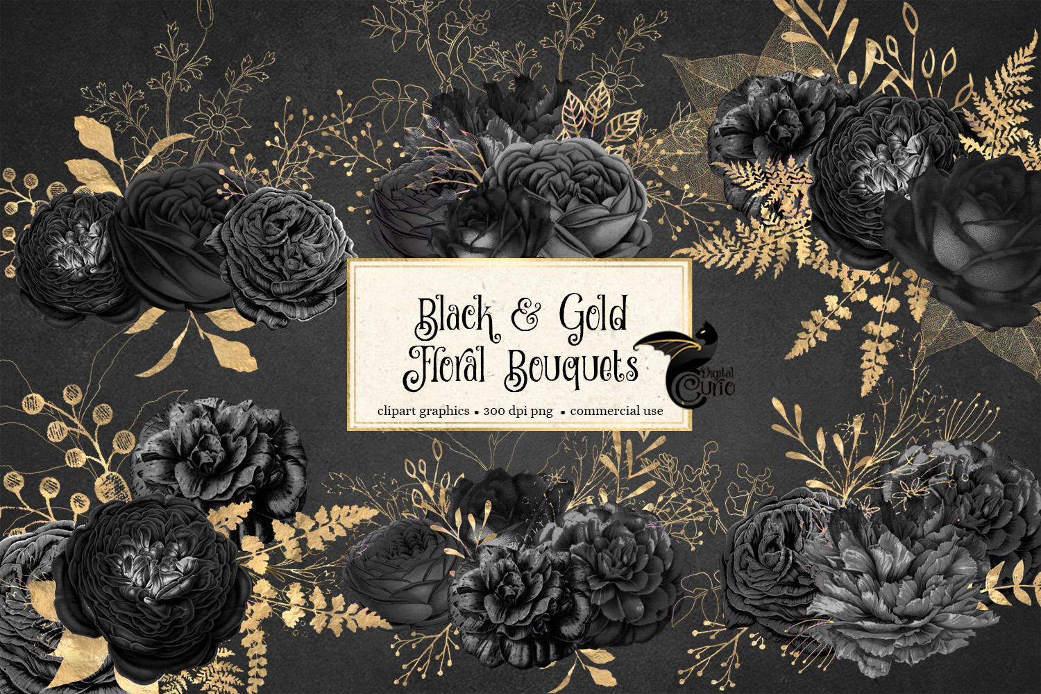 Black and Gold Floral Clipart example image 1