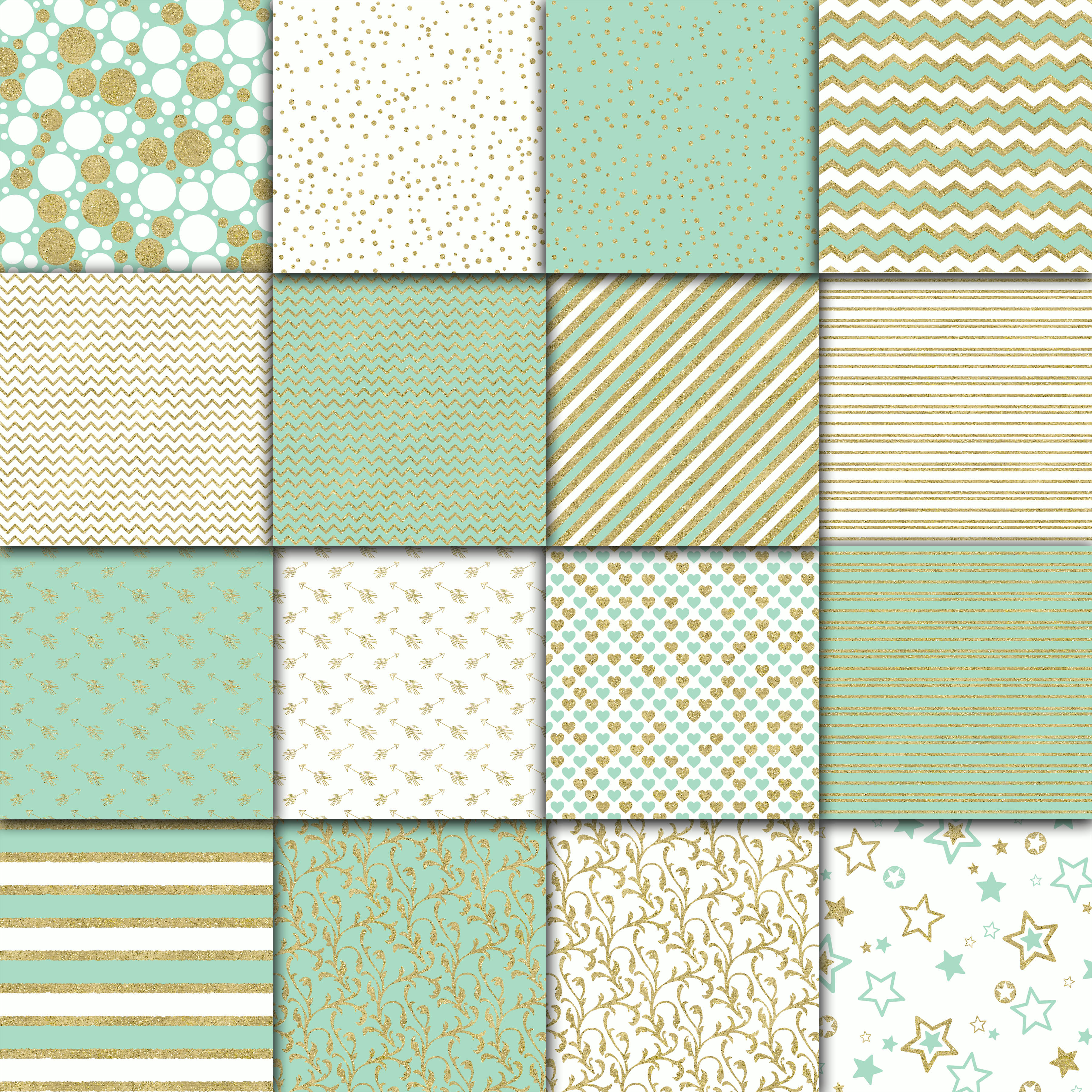 Mint and Gold Digital Paper example image 3