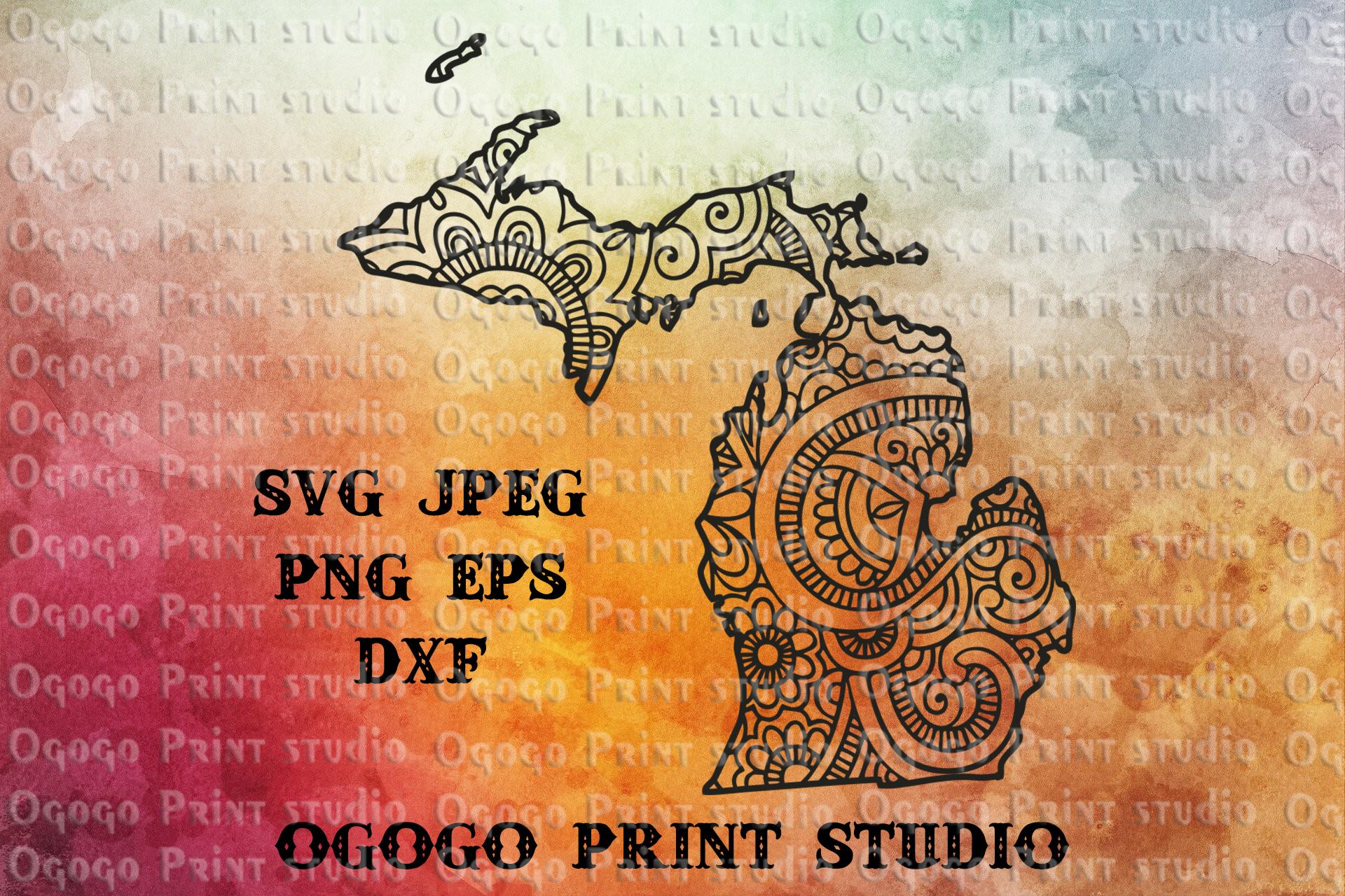 Michigan SVG, Map Zentangle SVG, Mandala svg, Travel svg example image 1