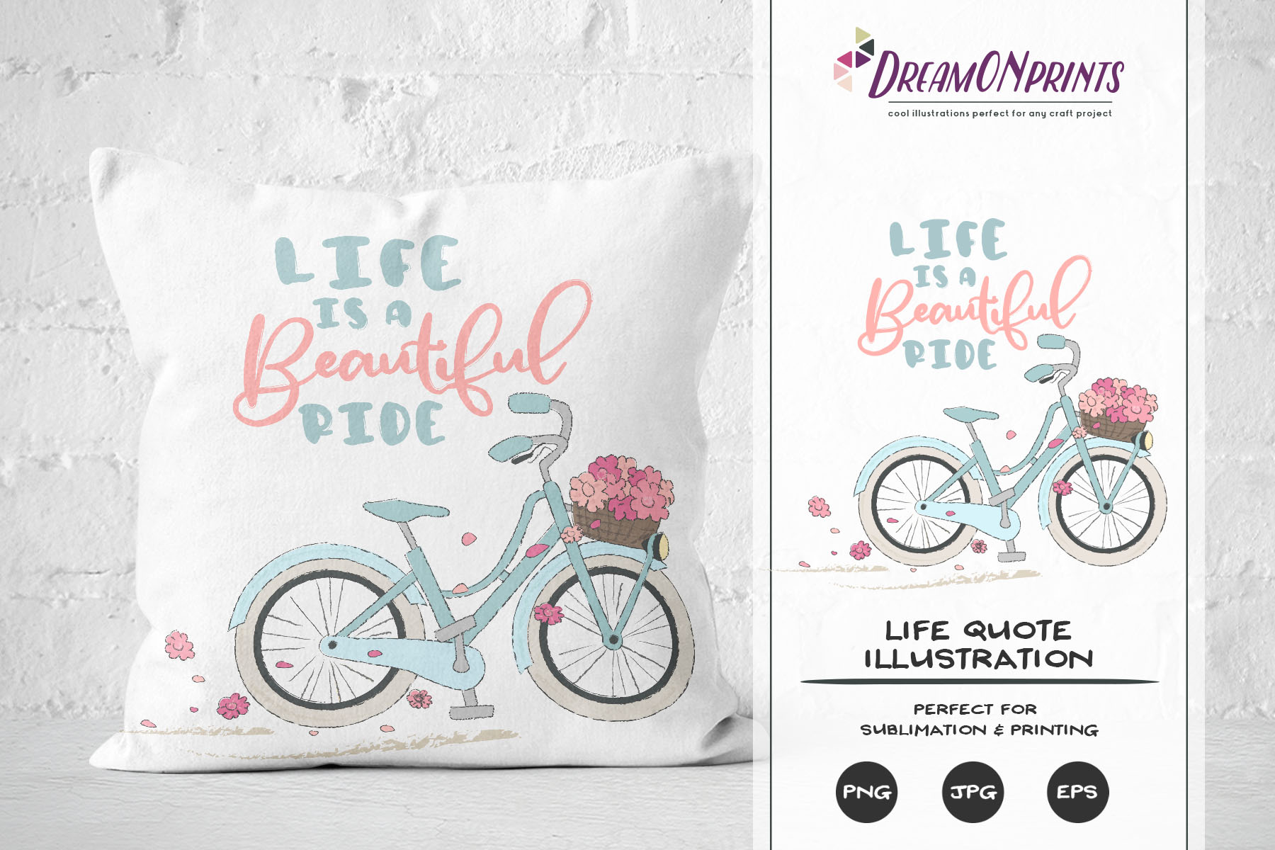 Life is a Beautiful Ride | Sublimation Life Quote with Bike example image 1
