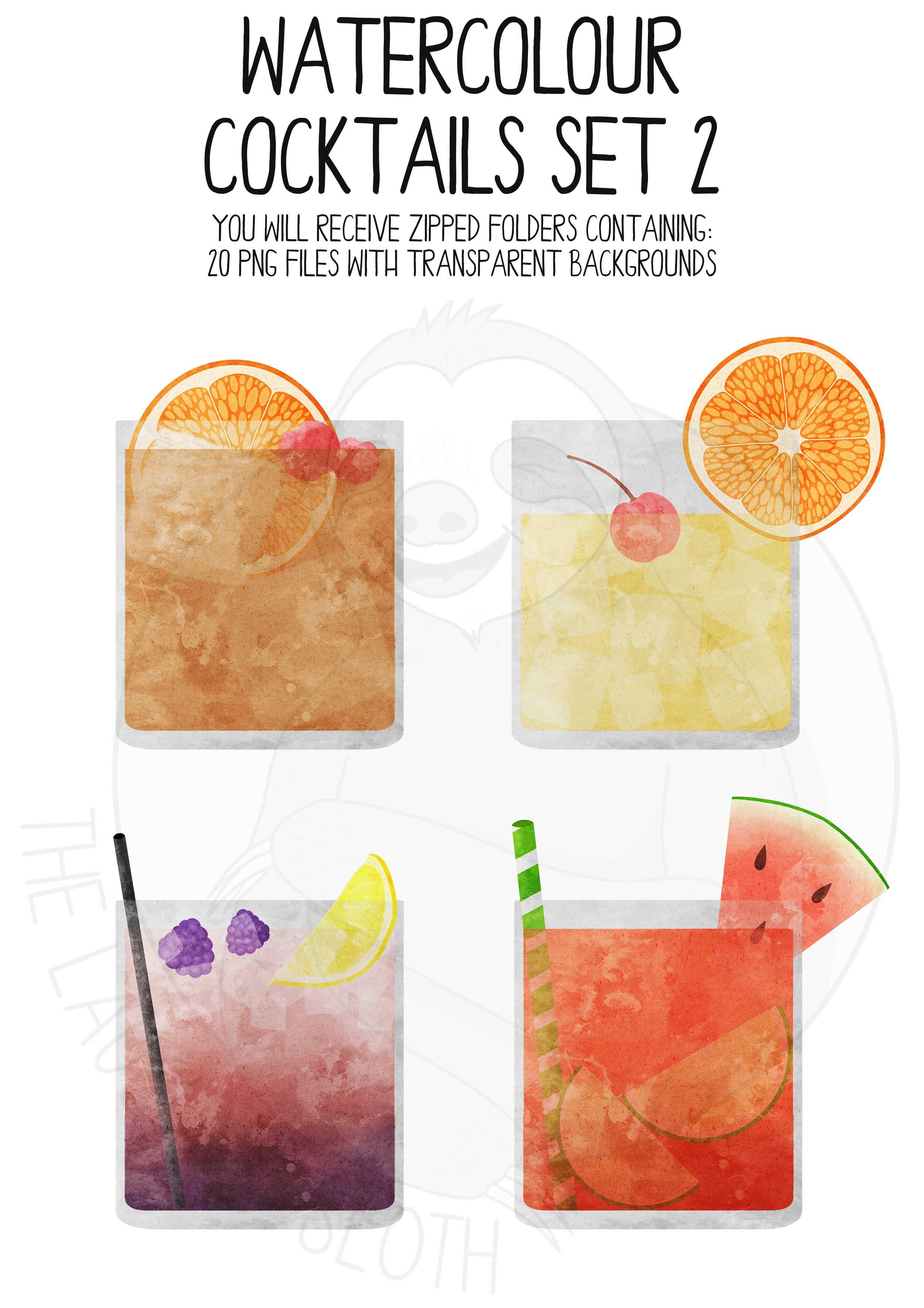 Watercolor Cocktails Clip Art Set 2 example image 4