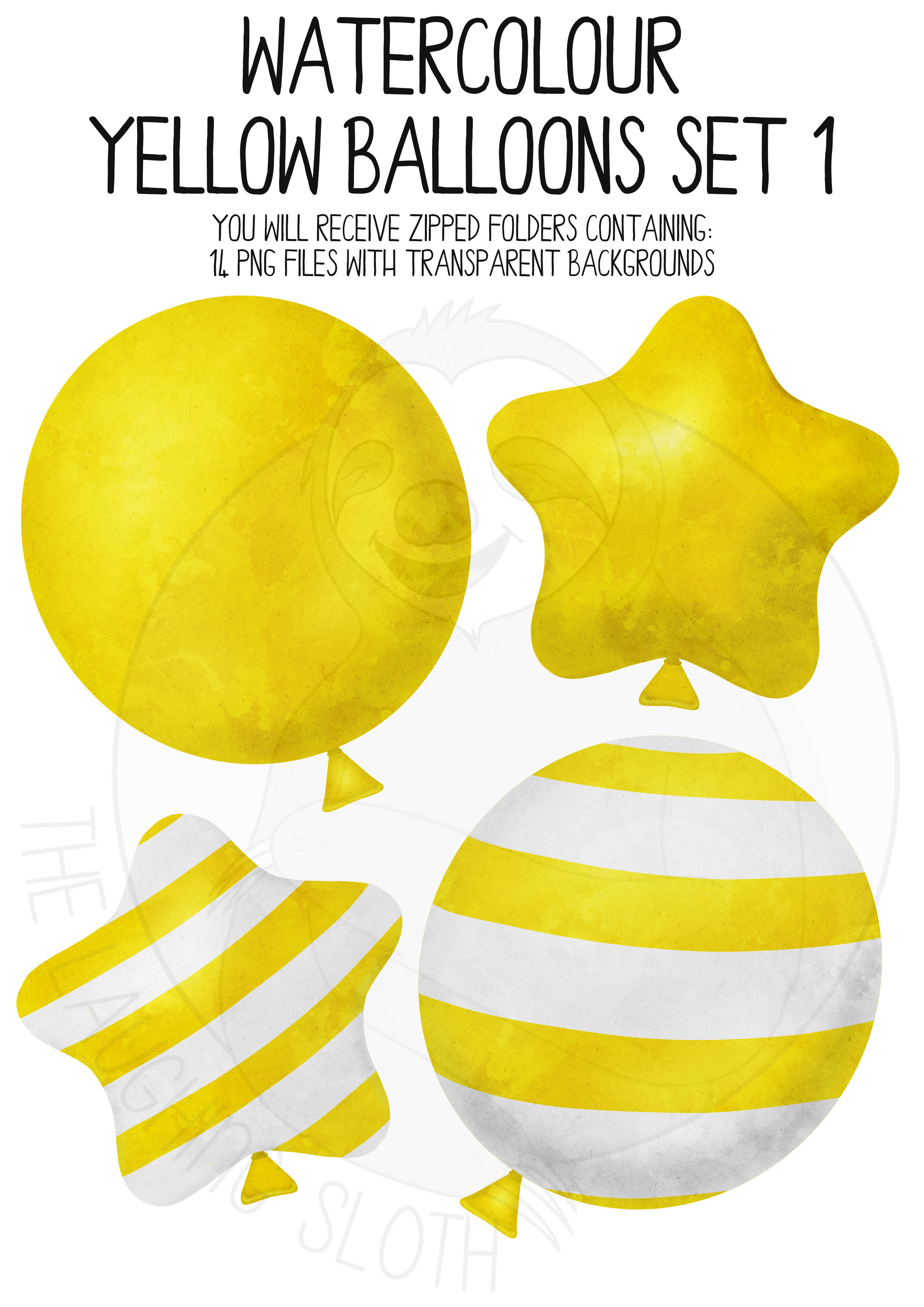 Yellow Watercolor Balloon Clipart Set example image 3