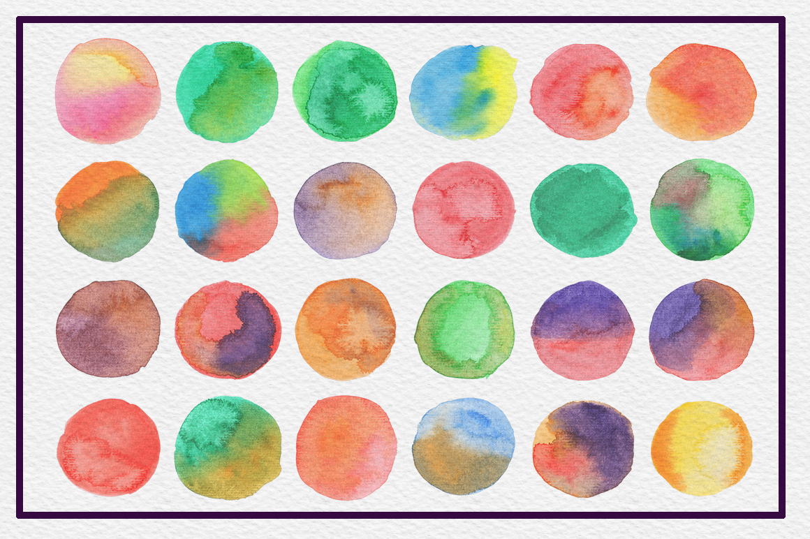 72 Circle Watercolor Textures example image 2