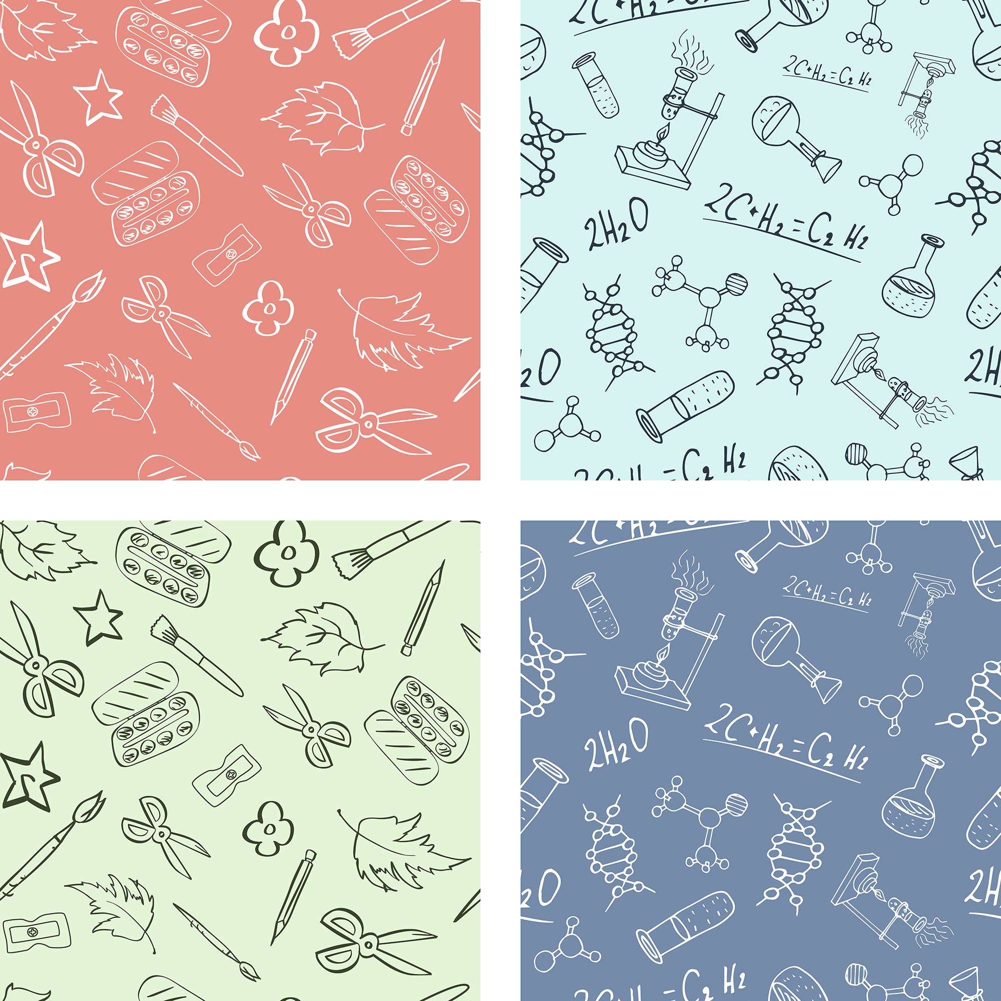 Back To School Seamless Patterns example image 3