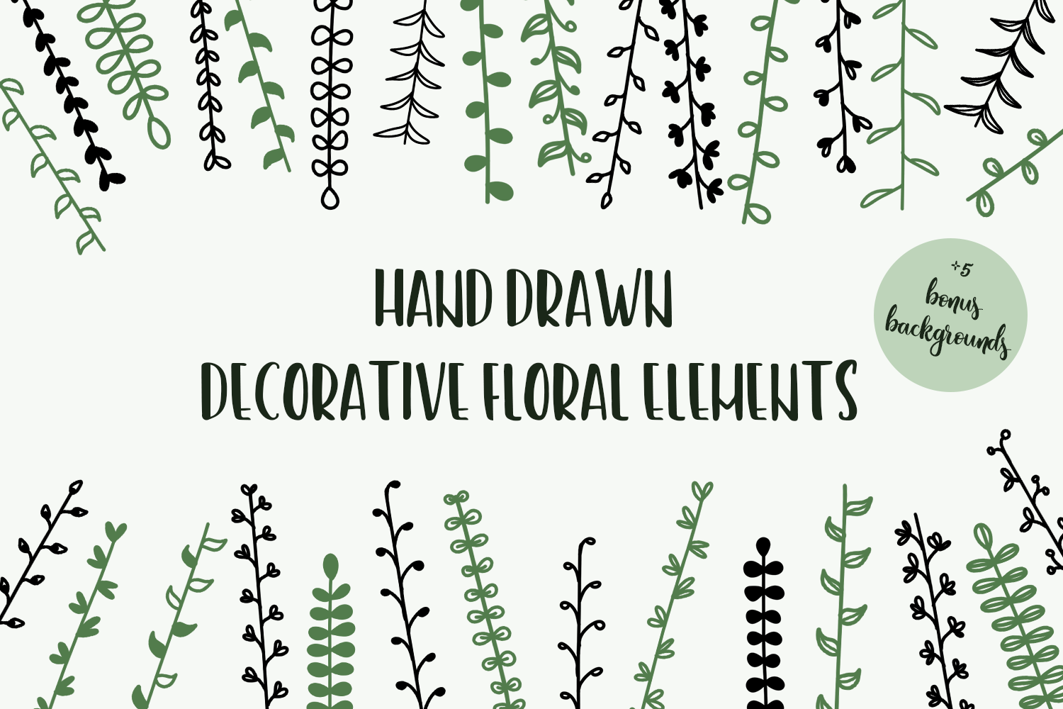 Hand Drawn Floral Elements & Backgrounds example image 1