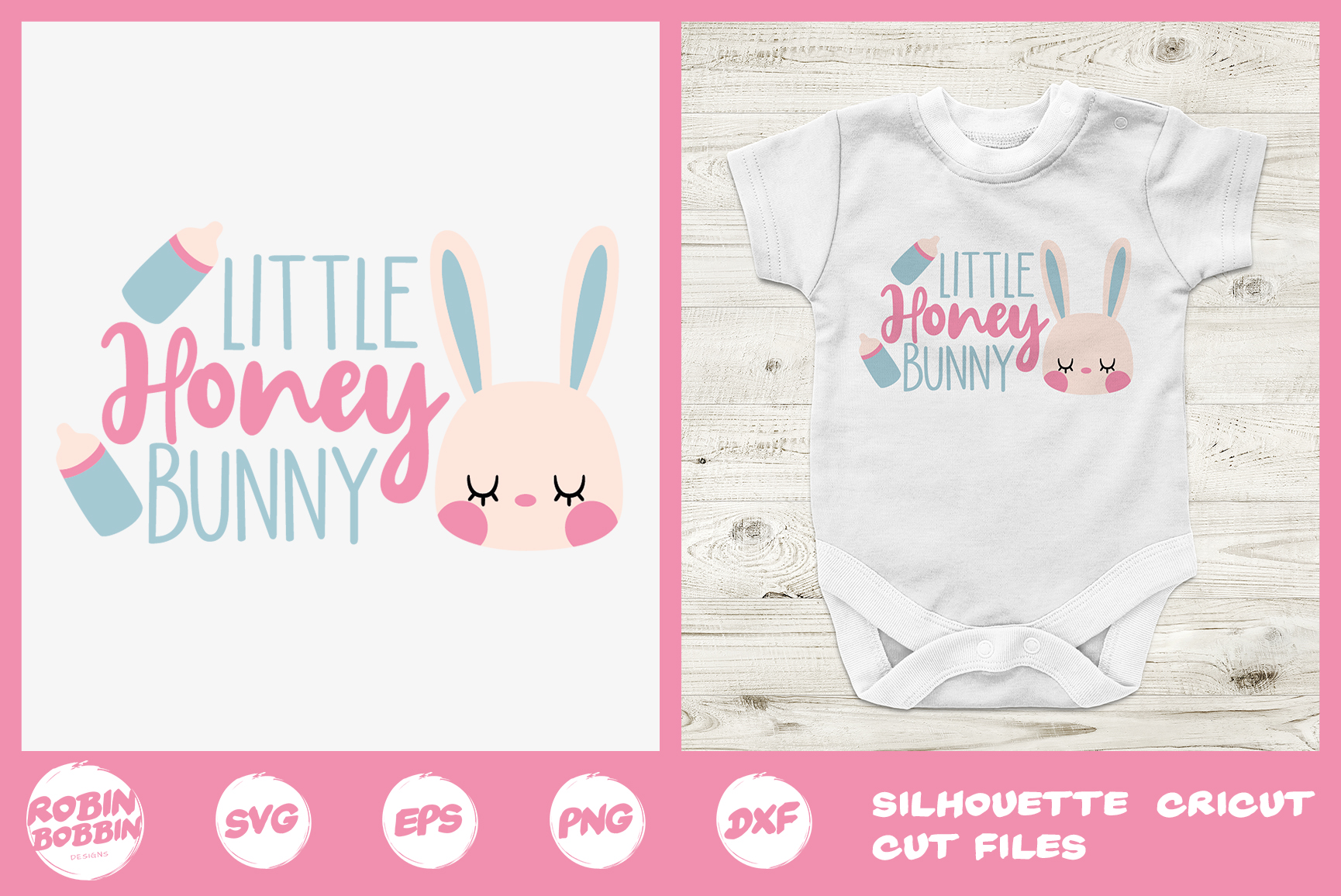 Easter svg, Little Honey Bunny svg, baby onesie easter svg example image 1