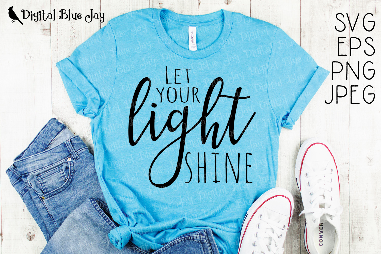 Let Your Light Shine Christian SVG PNG Cut Files example image 1