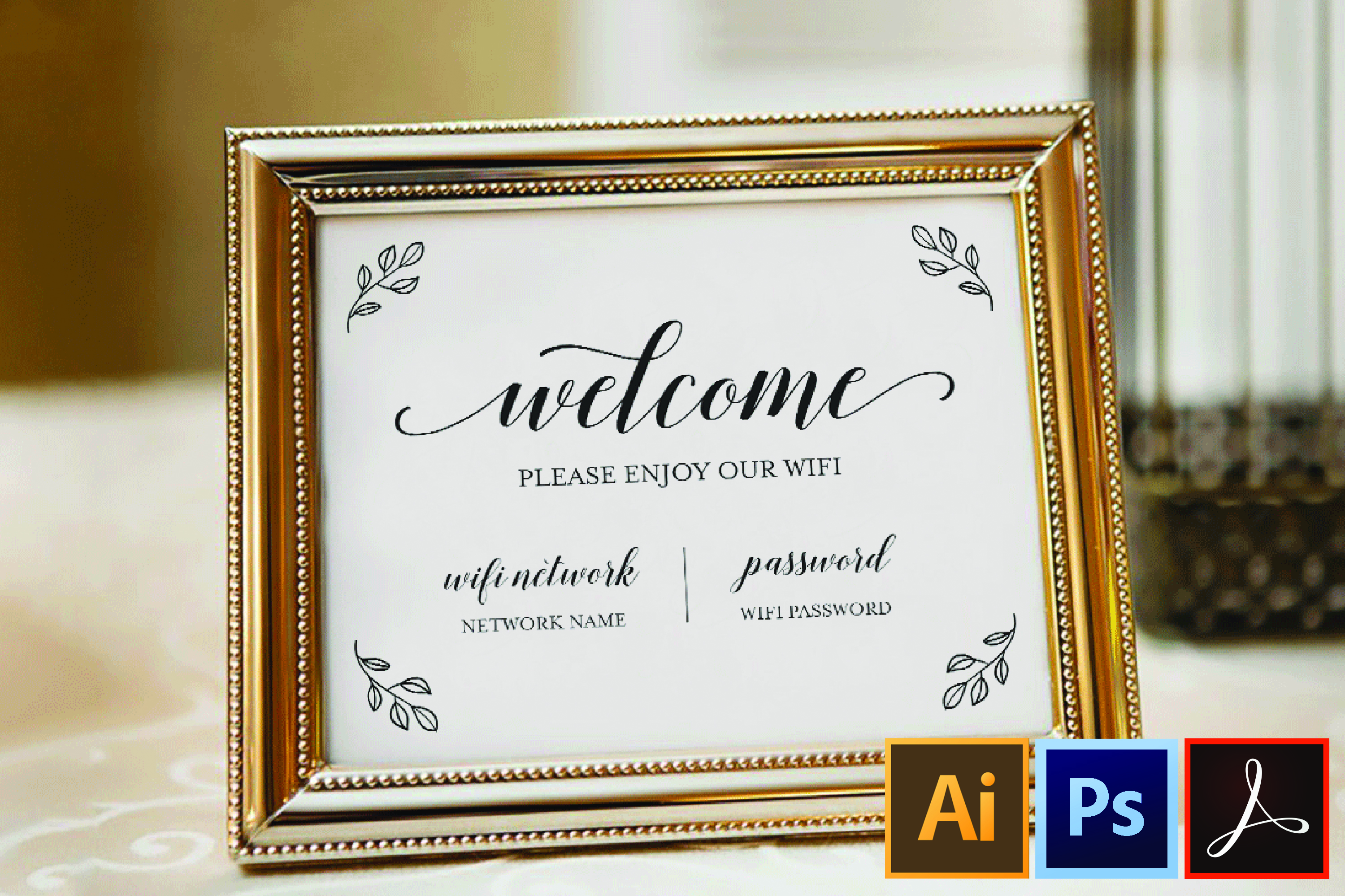 Wifi Password Printable, Wifi Sign Template, Welcome Guest example image 1