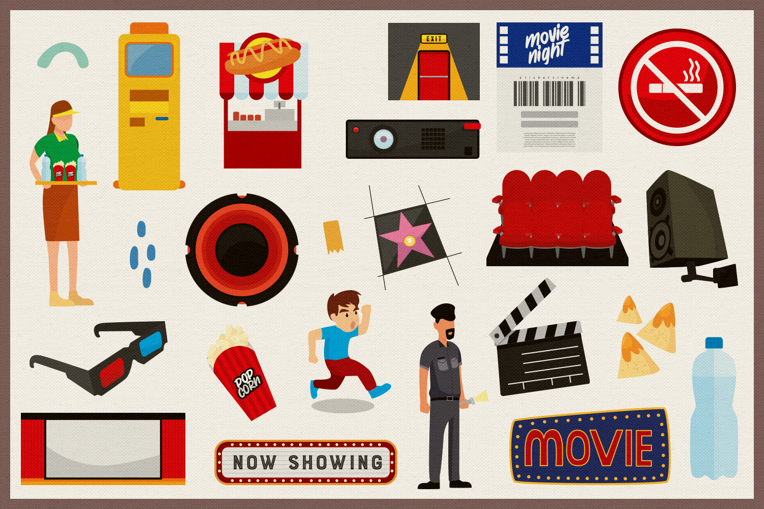 Movie & Cinema Vector Clipart and Seamless Patterns example image 2