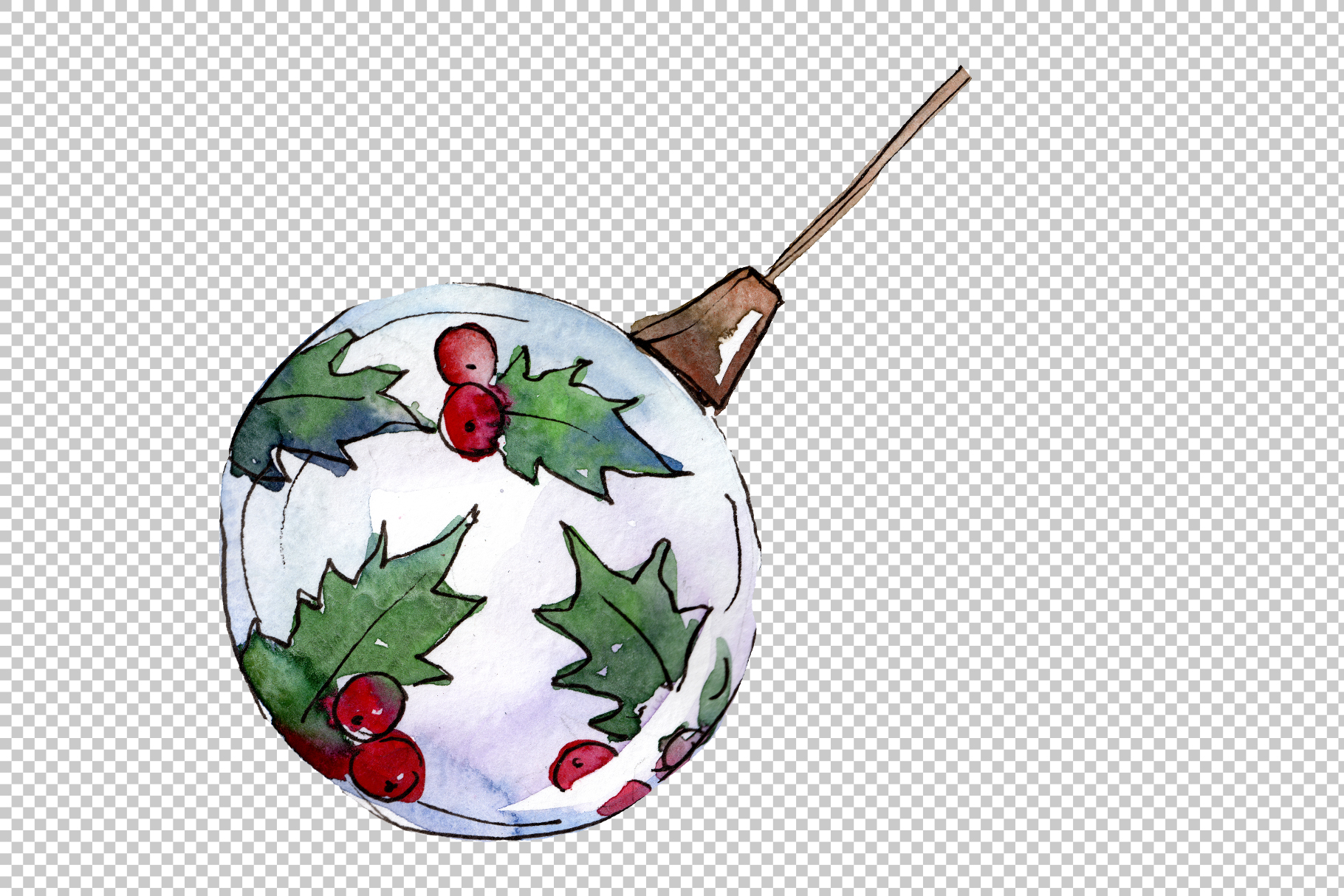 Christmas tea-drinking watercolor PNG example image 6