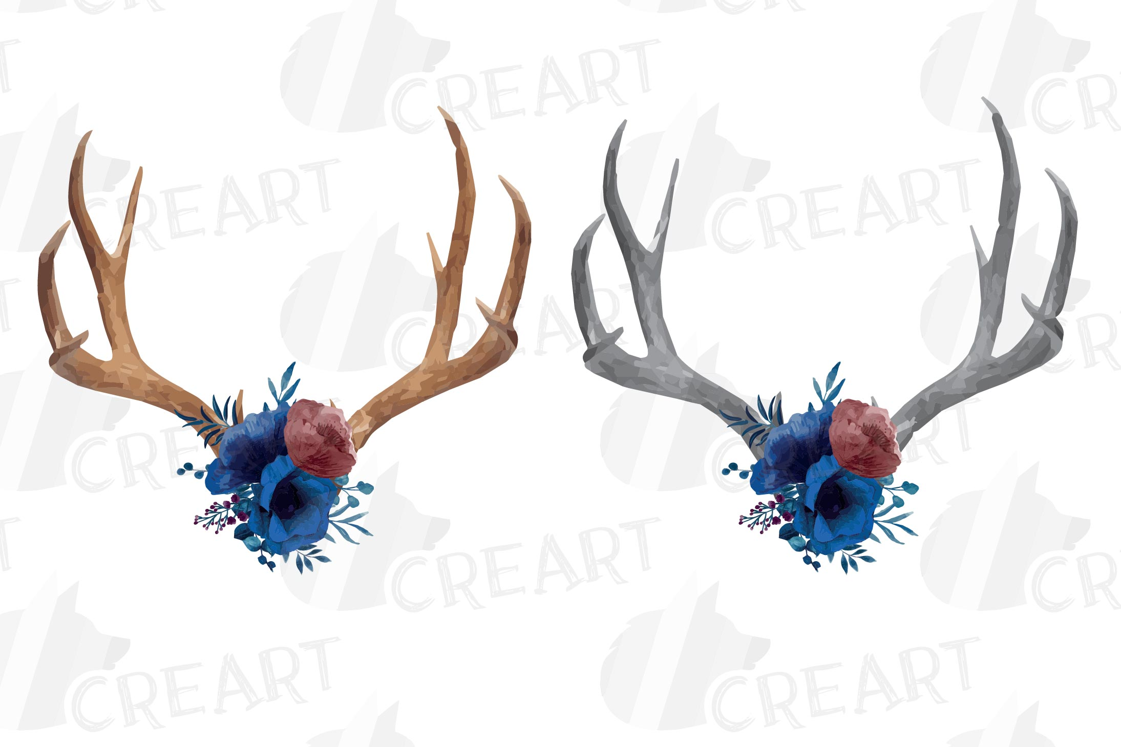 Watercolor navy blue floral deer horn decor clip art, India example image 1